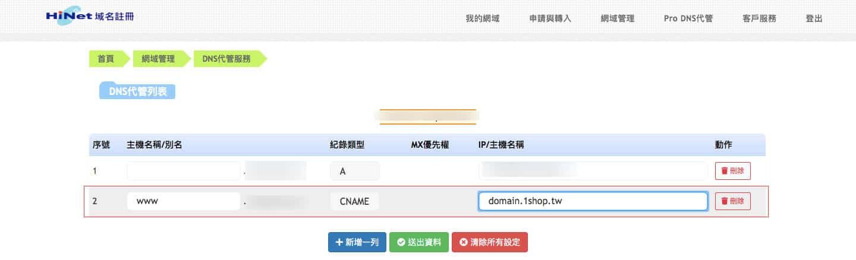 獨有網址設定 中華電信HiNet 指向1Shop